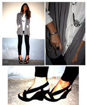 Adelaide L. - Basicmilano Pants Chevalier, Basicmilano Cardigan - Waiting Jeffrey Campbell leopard heels!