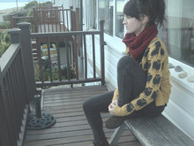 Scarlett Sometimes - Hand Knit Snood, River Island Sheep Cardigan, Topshop Acid Wash Jeans - Misty sea
