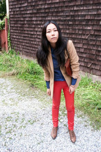 Lai Zi - Faux Leather Red Pants, Camel Wool Blazer - Camel + Red+ Blue