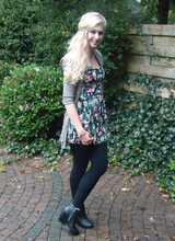Sarah Bon - Primark Dress, H&M Silk Cardigan, H&M Wedges - MISTY CLOUDS VS SUNNY DRESS