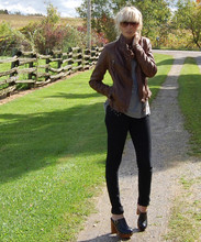 Betsy Berger - Danier Leather Jacket, Urban Outfitters Black Jeans, Jeffrey Campbell Clogs - Black jeans + Leather jacket