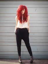 Ellen Brockbank - Pink Vest, Jeffrey Campbell Wedges - New Red Hair.