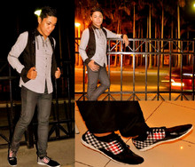 Jonathan Bandong - Zara Black & Gray Long Sleeve W/ Lace, Yrys Big Button Vest, Mundo Checkered Shoes - To stop and stare as I zone out