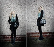 Kayla Hadlington - Charity Shop Green Waistcoat, .. Not Sure Where Its From Long Black Coat, Primark Leggings, Charity Shop Vintage Bag, Select Heels - DID YOU TAKE ME FOR A FOOL?