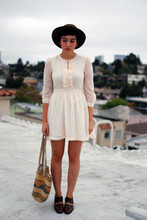 Cali Vintage - Vintage Hat, H&M Dress, Vintage Bag, Vintage Oxfords - Overcast