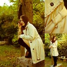 ALESSIA M. - H&M Trench Coat With Ruches, La Redoute Over Knees Black Boots - It's smells fall... just looking for the white rabbit!