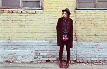 Violet Ell - Second Hand Jumper, Second Hand Shirt, Topshop Coat, Dr. Martens Boots - ...
