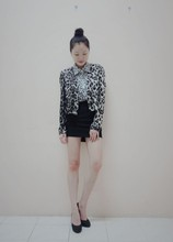 Baby Qi - Leopard Print Jacket, Heart Print Blouse, Plain Bodycon Skirt, Random Store Heels - Mixed Prints!