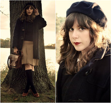 Maria C. - Urban Outfitters Primary Satchel, American Apparel Navy Beret, Brooks Brothers Boys Duffle Coat, Brooks Brothers Boys Sweater, Banana Republic Old Pleated Skirt, Old Knee Socks, Thrifted Vintage Kiltie Pumps - Sunset by the Lake