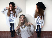 Adelaide L. - Hat Self Made ( I Love Knitting ), African Necklace, Zara Knit Cardigan - Would you like a JIMMY.. CHOOF CHOOF?