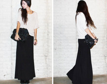 Caylee M. - Asos Bag, H&M Oversized Sweater, Large Claw Necklace, Low Luv X Erin Wasson Tribal Cuff, H&M Ankle Boots, H&M Maxi Skirt, Forever 21 Watch - The new silhouette.