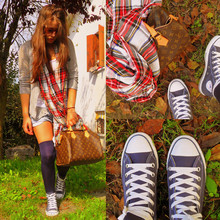 ALESSIA M. - Pull & Bear Grey English Cardigan, H&M Aviator Sunglasses, Shorts Customized By Me, Pull & Bear Checked Scarf, Louis Vuitton Speedy 30, Converse Sneackers All Star - London calling