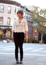 Jennine Jacob - Charley 5.0 Jeggings, Joie Lace Blouse, Liz Larios Chrystal Necklace, Jeffrey Campbel Ankle Boots - State of Lace