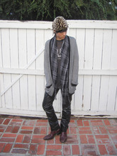 Cruz V. - Leopard Skin Cap, Forever 21 Scarf, Forever 21 Cardigan, Vintage Shirt, Gap Leather Pants, Vintage Boots - GONE AGAIN