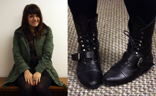 Adiel C - Gap Military Anorak, Thrift Store Plaid Button Up, H&M Black Skirt, Obey Alligator Ring, Wanted Black Lace Up Boots - Black Boots at Work