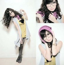 Kryz Uy - Wagw Gray Vest, Wagw Yellow Top, Wagw Black Tube Top, Wagw Purple Bolero As Scarf, Wagw Stockings - And Continue