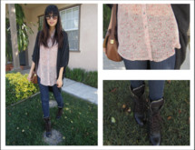 Tiffany Yu - Vintage Bag, Lace Up Boots, Zoa Sleeveless Button Up, Modern Amusement Sunglasses - New favorite oversized shrug