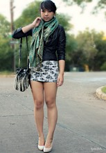 Diya L - Forever 21 Leather Jacket, Forever 21 Leather Purse, Street Vendor Paisley Scarf - Too fast for love
