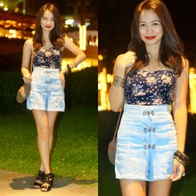 Marj Ramos - Personally Designed, Custom Made Strapless Top, Love High Waist Denim Shorts, Girlshoppe Bangle Set, Gold Cuff, B Club Shoes, Esprit Sling Bag - Fashion never sleeps