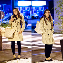 ALESSIA M. - Louis Vuitton Neverfull Mm Damier Azur, H&M Trench Coat With Ruches, Swarowski Ballerina - Night at Tiffany's