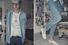 Jordan Campbell - H&M Denim Shirt, Topman Jeans, New Look Espadrilles, D.I.Y Pinned Top - The ultimate fashion crime?