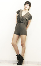 Ninjaintherun Kalahari - Miss Mars Crossed Pocket Romper, Tennis Platforms - The curve in your clavicle