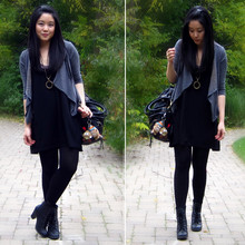 Kristania Petra - Urban Outfitters Drapey Cardigan, H&M Layered Tank Dresses, Urban Outfitters Purse, Spring Lace Up Boots - Welcome to the dark side