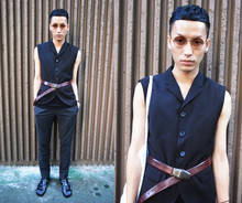 Perry Kwong - H&M Bk Vest Jacket, Raf Simons Redness Belt, Raf Simons Sandals - Redness Assist