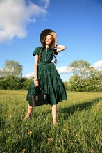 Rosalind J - Betty Barclay Dress, Thrifted Sun Hat, Family Inherited Vanity Case - Penny for a flower