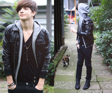 Yannick K. - H&M Black Leather Jacket, Revolution Black Cardigan, Dr.Denim Black Skinny Jeans, H&M Grey Sleeveless Hoodie, Hudson Black Boots, Topman Black Skinny Suspenders, Red White Black Cat! - I like when you tell me kiss me here