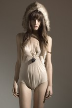 Rachel Lynch - On The Prowl Vintage Baby Bear Hat, On The Prowl Vintage Cream Tie Bodysuit, Williamsburg Necklace: Gabriel Schuldiner, Betsey Johnson Cross Ring - Baby bear blues,
