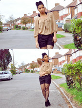 Shirley B. Eniang - Zara Bow Detailed Blouse, Zara Shorts, Primark Bow Tights, New Look Ankle Boots - Say you'll stay...