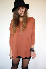 Lily Melrose - Asos Oversized Square Top, Zara Spyglass Necklace, H&M Felt Hat, H&M Body Con Skirt - You really got me