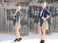 Amara nichole . - My Moms Closet Vintage Blazer, Urban Outfitters Deux Lux Mid Grommet Cross Body Pouch Purse, Aldo Clary Suede Booties - Cold Fall Winds & Deep Color Schemes.
