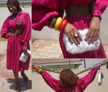 Cynthia Mothelesi - China Sandles, Hair, Thrift Fur Purse, China Ring, Flee Market Bangles, Mr Price Belt, Thrift Shop Pink Dress, Flee Market Barbed Earrings - Oh I *heart* colour!