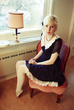 Elin . - Gift Necklace, Miss Patina Polka Dot Dress, Bik Bok Tights - Lace and polka dots!