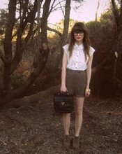 Claire Mcmanus - Sportsgirl White Lace Blouse, Thrifted Bag, Thrifted Brown Check Shorts - I like old things