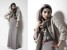 Yuna Zarai - Topshop Maxi Dress, Zara Wool Jacket, Maysaa Inner Scarf - Hello Winter