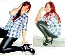 Carla Maciel - Open Boot, Checked Shirt, Cals Leather - Ready to rock