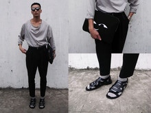 Perry Kwong - Smile Clutch, Raf Simons Sandals, Fujiwara High Waist Pants - SMILE 10y1021