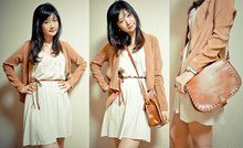 Naomi Lane - Dusty Pink Blazer, Edgy Sling Bag, Rope Belt, Sauce Lazy Dress - Autumn colours
