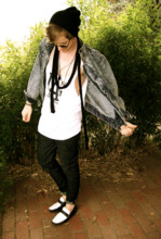 Michael Z - Thrifted Denim Jacket, Diy L.A. Singlet, Nudie Jeans Thin Finns, Bally Calf Leather Loafers - L.A. BABY