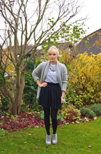 Anna W - American Vintage Cardigan, Cox Heeled Shoes, American Apparel Skirt, Zara Dotted Tights - Stripes and Dots