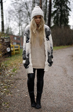 Emmi T - Asos Cardigan, H&M Beanie, Gina Tricot Knit, Modström Faux Leather Pants, Weekday Boots - Long longed love