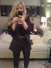 Lucy L - Topshop Black Vest, Topshop Waterfall Blazer, Topshop Leather Shorts, H&M Thick Black Tights - Aussie Party