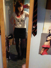 Sarah Fitzgerald - New York I Love Ny Tee, Dunnes Stores Black Bodycon Skirt, Primark Black Tights, New Look Gold Heart Necklace, Argos White Watch - Kiss me, ki-ki-kiss me,infect me with your Love.