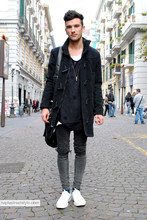 Alfredo Laurino - Zara Montgomery, Marios T Shirt, Cheap Monday Skinny, Ann Demeulemeester Lace Ups, H&M Bag - Naplestreetstyle