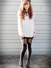 Ellen Brockbank - Topshop Shirt, Henry Holland Tights, Jeffrey Campbell Wedges - Winter Sun.