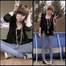 Emma C. - Bershka Skinny, H&M Lose Top, H&M Neclases, H&M Earrings, H&M Bracelets, Converse - Your beautiful just the way you are.