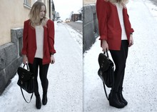 Iina K - Vintage Red Blazer, Urban Outfitters Knitted Vest, Lindex Faux Leather Trousers - Red